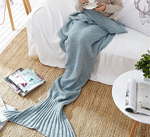 "Soft Mermaid Tail Blanket Handmade Wave Sleeping Blankets Crochet Knitted Warm Sofa Blanket Living Room Sleeping Bag For Adult Kids (71""x35.5"",grey)"