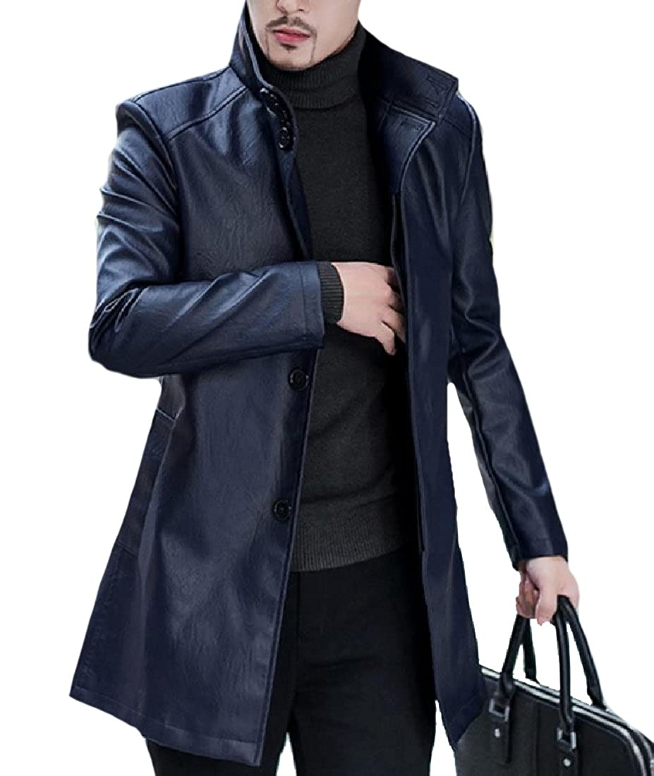 Winwinus Mens Business Mid Long Stand-up Collar Leather Trench Coat