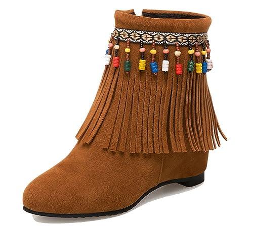 HiTime - Botas Mocasines de Ante Mujer: Amazon.es: Zapatos y complementos