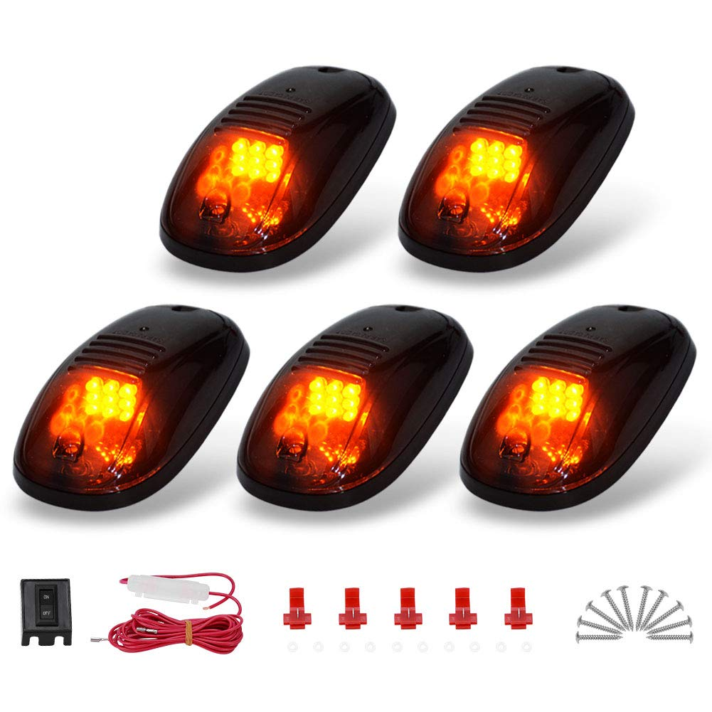 Green Cab Marker lights YITAMOTOR Smoke Roof Cab Marker Lights Covers w//LED Bulbs Aftermarket Replacement Compatible for Ford F150 F250 F350 F450 F550 Super Duty Pickup Truck