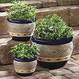 Planters Set of 6 COBALT Garden Trio Planters Flower Pots Garden Home Decor …