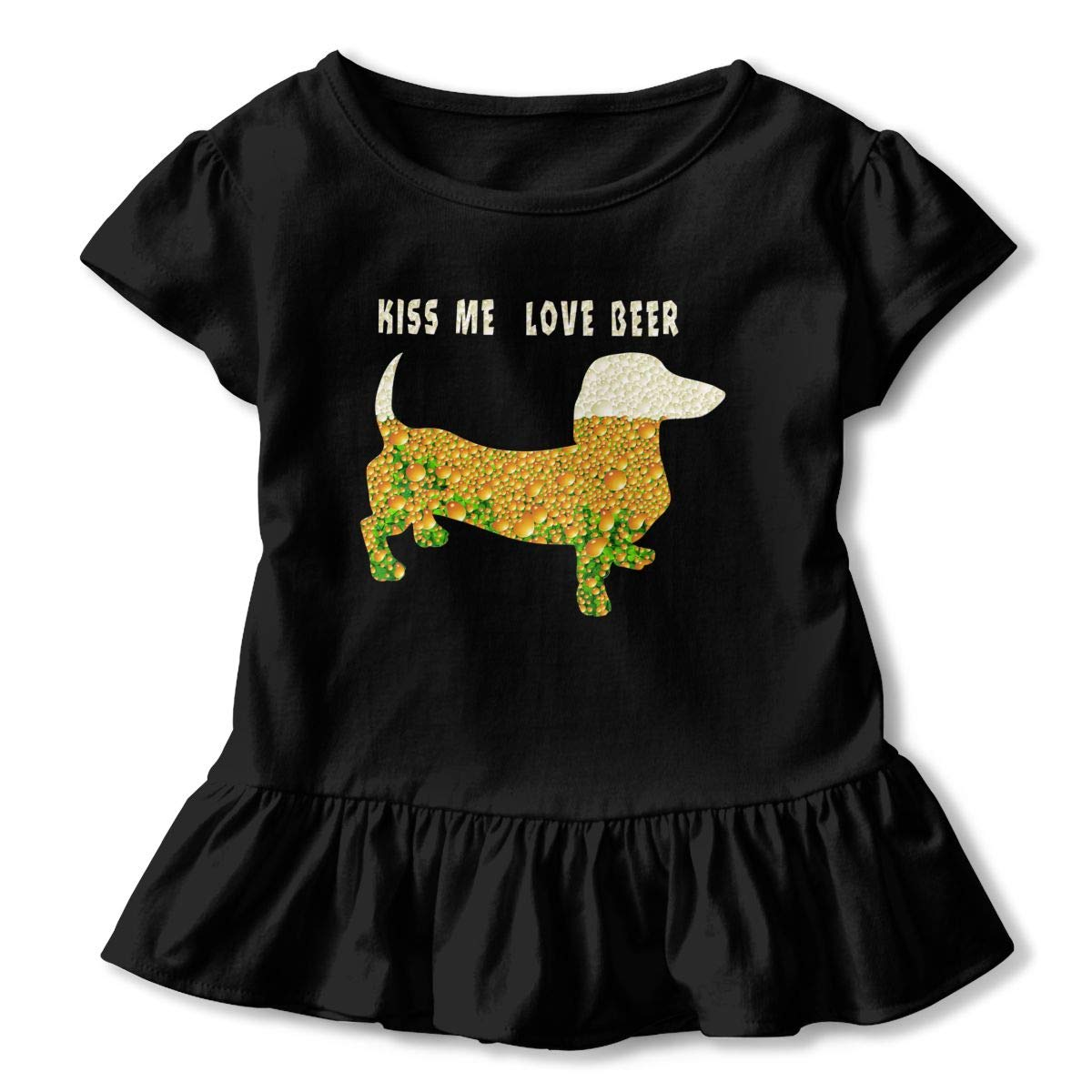 CZnuen Kiss Me Love Beer Dashhund Baby Girls Basic Short Puff Sleeve Round Neck Ruffle T-Shirt