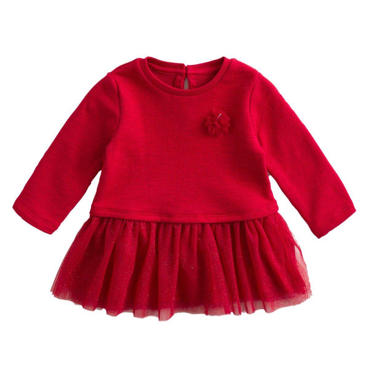 6050a6e2d062c 18 ベビーガールズ DRESS janie marc Months B07H6C8KCZ ディープレッド cm) (73-ワンピースチュニック