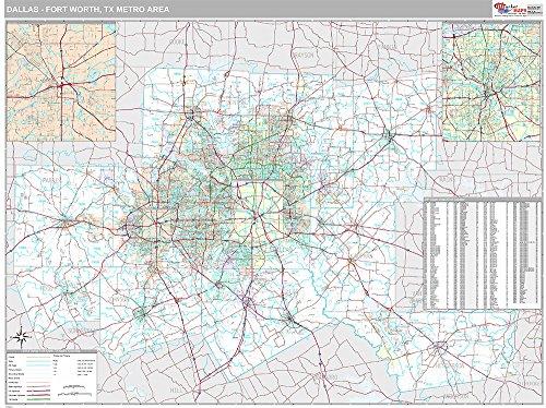 Dallas-Ft. Worth, TX City Wall Map (Premium Style, Laminated, 48x64 - Maps Airport Dallas