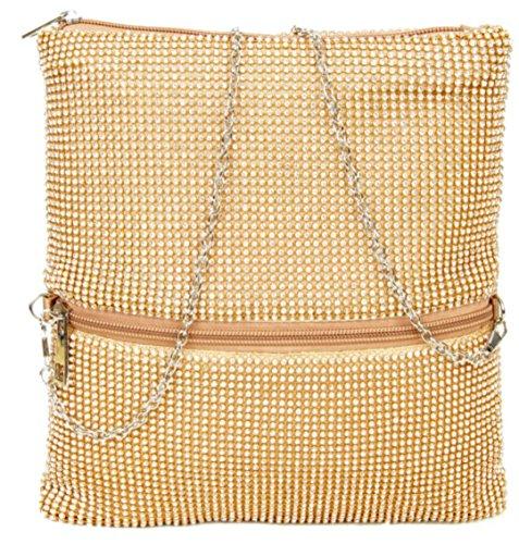 Handbags Material Mujer Dorado Mano De Cartera Para Sintético Girly 7xPIdqd