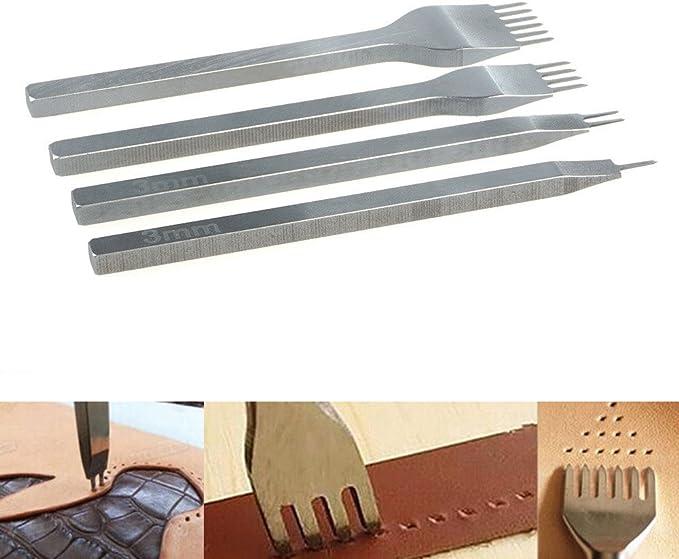 Malayas Perforadoras Herramientas Artesanales Costura, Tenedores para Coser Cuero, Herramientas de Cuero para Marcar Puntadas, Juego de Perforadores de Cuero de 1+2+4+6 Puntas-3mm: Amazon.es: Hogar