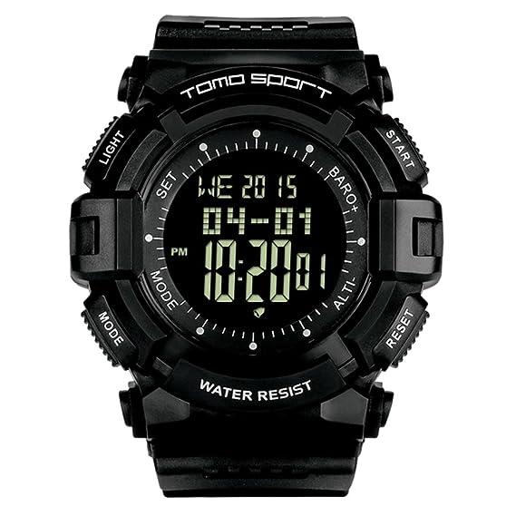 Subida de los hombres Aire libre Digital Watch,Múltiples funciones Brújula Presión Altitud Led Resistente al agua de 50 m Moda Cool Reloj de pulsera -A: ...