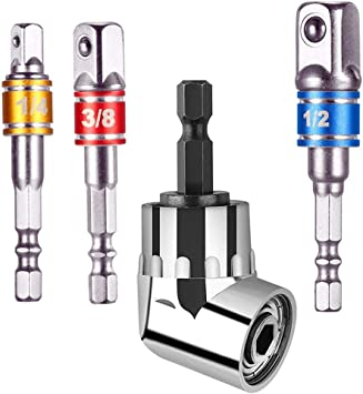 Right Angle Drill 105 Degree Right Angle Screwdriver Set Drill Hex Bit Socket Adapter,Right Angle Drill,3Pcs 1//4 3//8 1//2 Cr-V Hex Shank Impact Grade Driver Socket Adapter//Extension Set Drill Bit