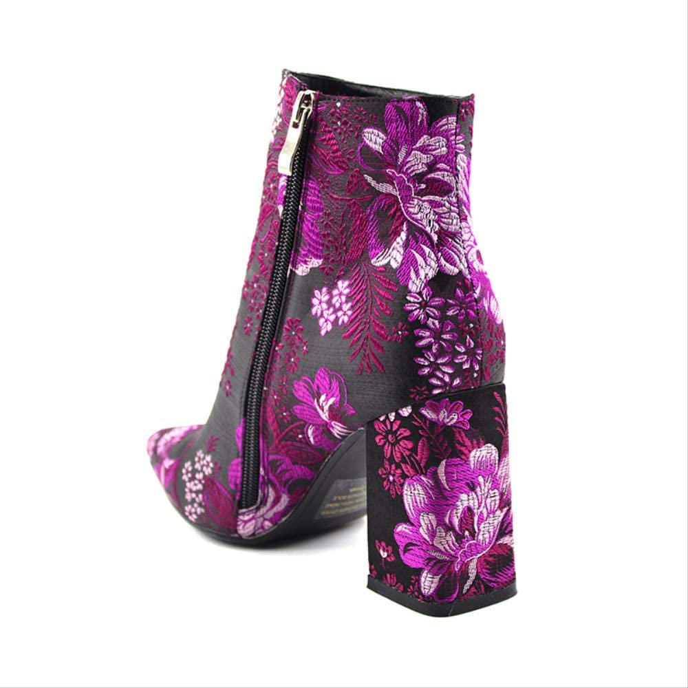 SHZSMHD New Embroidered Boots Female Autumn Fashion Ankle Boots for Women High Heels Retro Women Shoes Autumn Women High Boots Flower Black