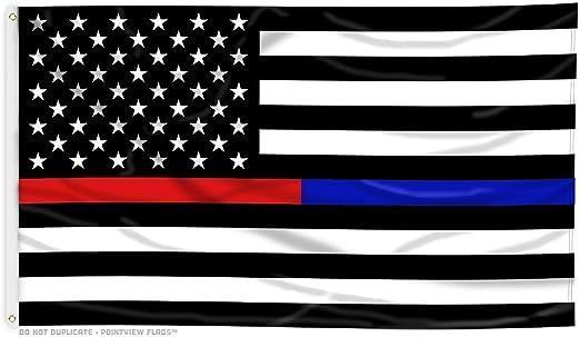 AHAYLYN Fina línea Azul y Delgada línea roja American Flag – 3 x 5 pies con Arandelas: Amazon.es: Jardín