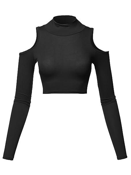 8f8cba84656 Women's Junior Fit Cut Sexy Plain Turtle Neck Open Shoulder Long Sleeve  Crop Top
