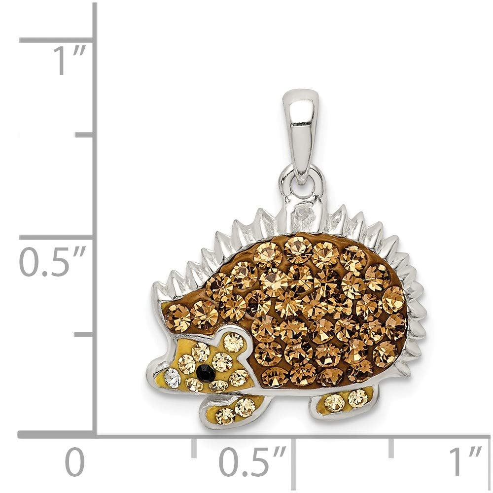 925 Sterling Silver Brown Preciosa Crystal Hedgehog Pendant Charm Necklace Animal Fine Jewelry Gifts For Women For Her