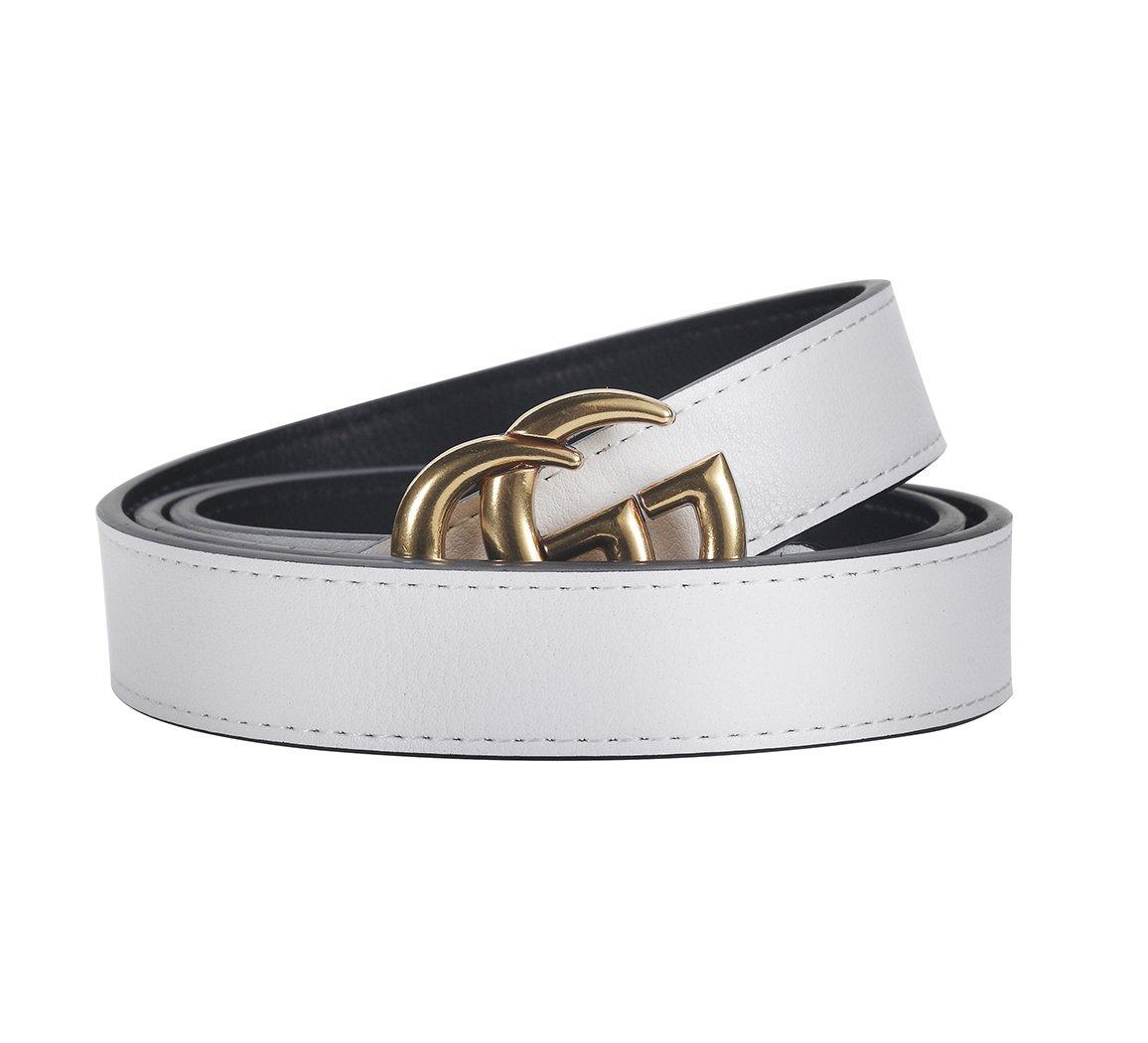 [TGVQUN] Luxury Designer GG Style Slim Thin Women Girl Fashion Belt [2.5CM Width] (95CM [Waist 26-30], White)