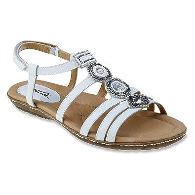 Earth Womens Seaside White Gladiator Sandal - 5.5