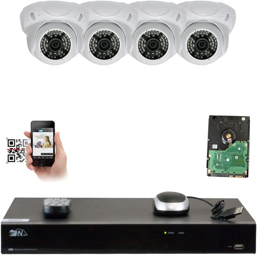 GW Security 8 Channel 4K NVR 1920P IP Camera POE H.265 Video Security System – Four 5.0 Megapixel 2592 x 1920 Weatherproof Dome Cameras, Quick QR Code Easy Setup, Pre-Installed 1TB Hard Drive