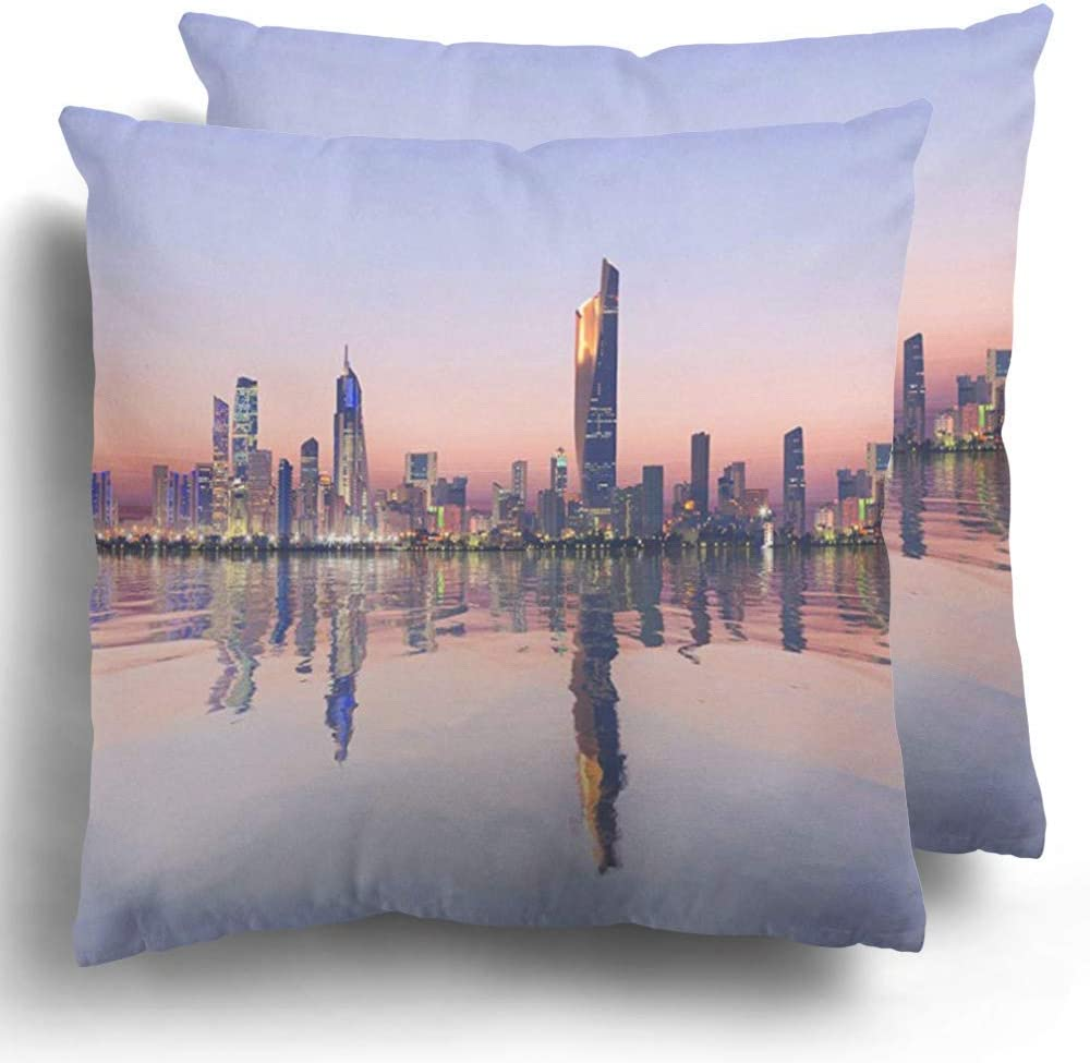 Amazon Com Dkisee Throw Pillow Case Pack Of 2 Colorful Skyline Beautiful Dawn View Of Kuwait Cityscape Landscape Polyester Cushion Pillowcase Couch Home Decor 20x20 Inches Home Kitchen