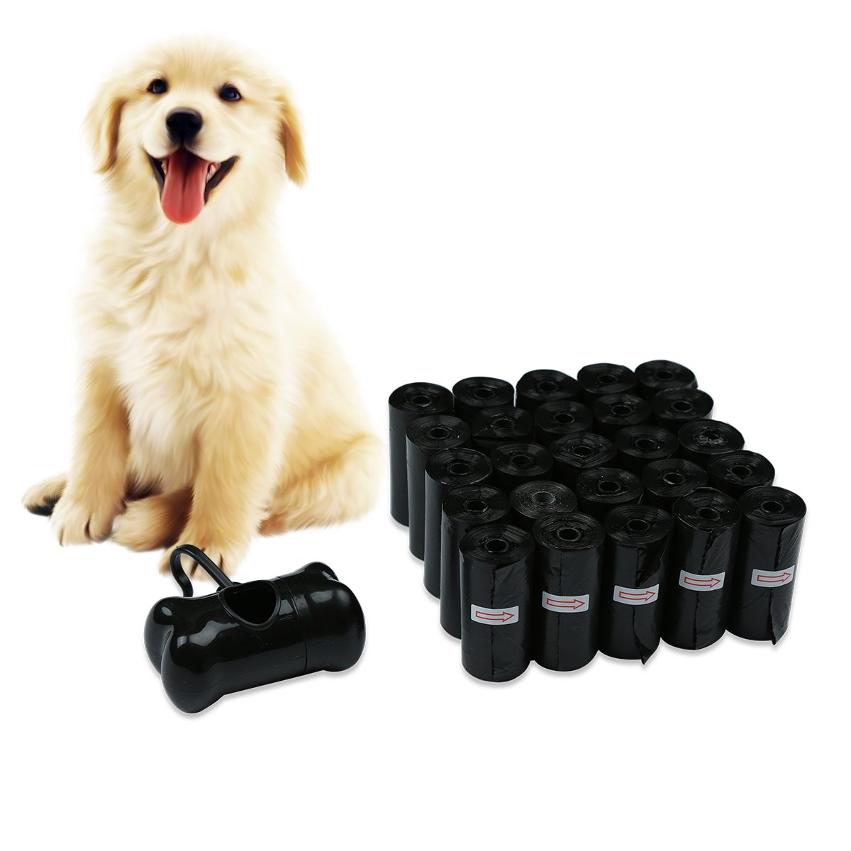 JKC Bolsas para residuos de Bolsas biodegradables Caca Caca de Perro Mascota Gran Negro Bolsa de desechos con dispensador y Conducir Clip Attachment Incluye ...