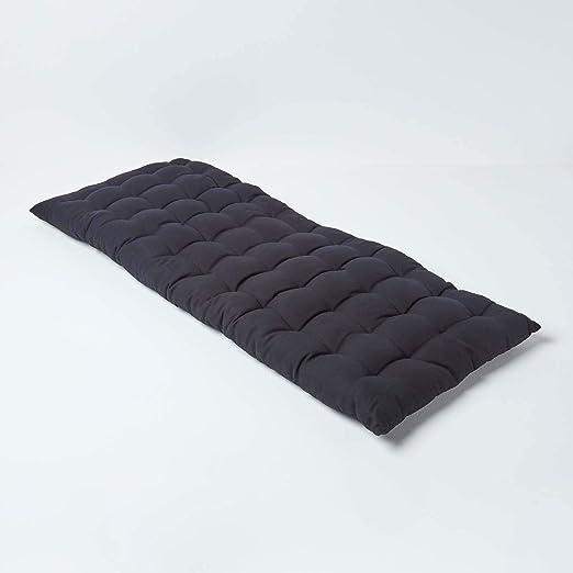 HOMESCAPES Colchón de suelo acolchado o cojín para banco de jardín de 2 plazas, banco y chaise longue, algodón 108 x 42 x 5 cm, negro: Amazon.es: Hogar
