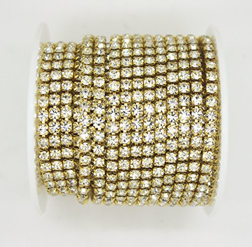 10 Yard Crystal Rhinestone Close Chain Clear Trim Sewing Craft Gold Color (3.5mm)
