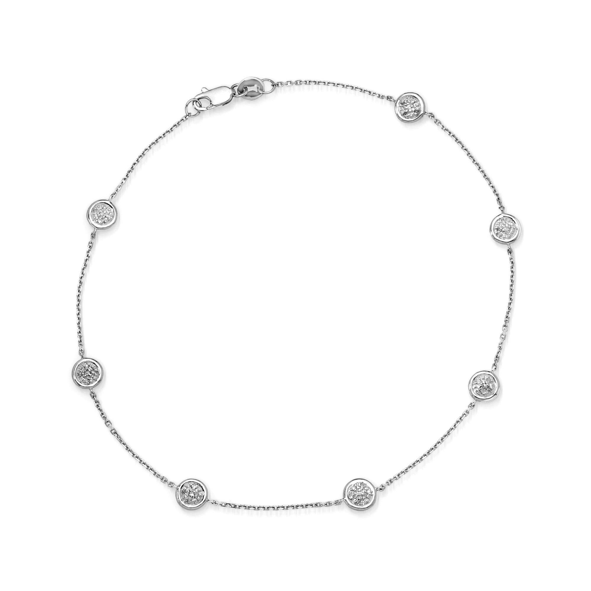 Ross-Simons 0.25 ct. t.w. Pave Diamond Station Anklet in 14kt White Gold