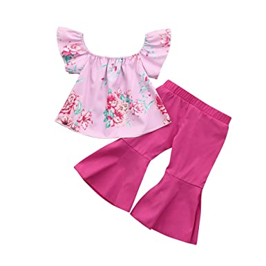 8fd6fd6f2e5 Amazon.com  2Pcs Toddler Kids Baby Girl Clothes Floral Off Shoulder Tops  and Pants Summer Sunsuit Outfits Set  Clothing