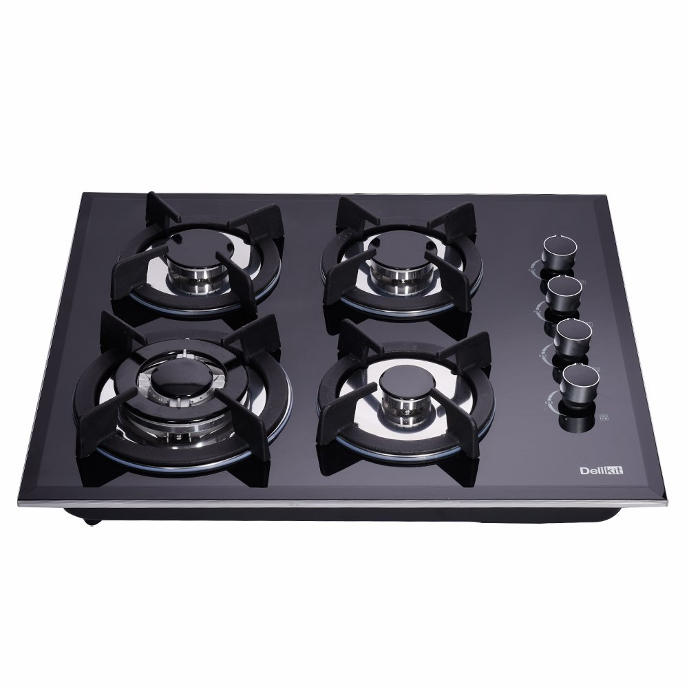 DeliKit DK145-A01S 24 inch gas cooktop gas hob stovetop 4 Burners LPG/NG Dual Fuel 4 Sealed Burners Kitchen Slope Edge Tempered Glass Built-in gas Cooktop 110V AC pulse ignition Natural Gas