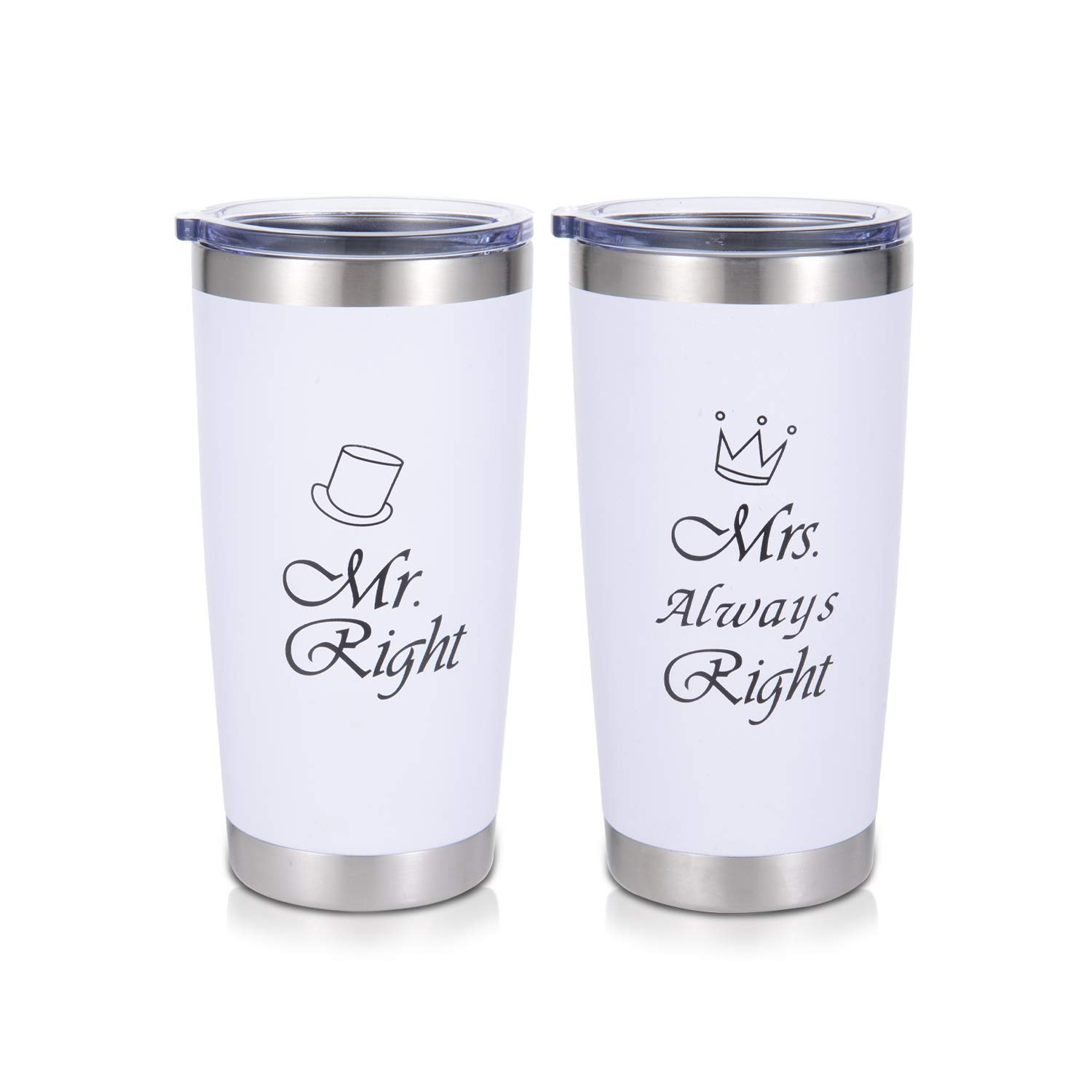 DOMICARE 20oz Stainless Steel Tumbler with Lid, Double Wall Vacuum  Insulated Travel Mug, Durable Powder Coated Insulated Coffee Cup, 2 Pack,  White and