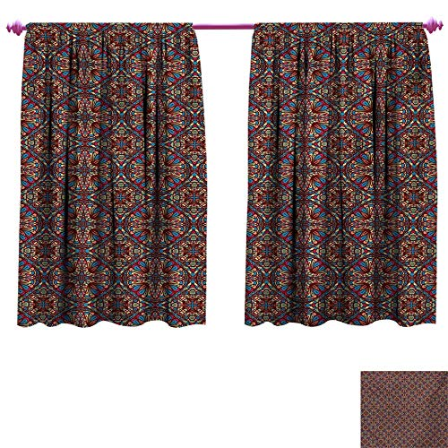 cobeDecor Vintage Patterned Drape for Glass Door Kaleidoscope Stained Glass Seemed Image with Colorful Floral Like Detailed Image Waterproof Window Curtain W72 x L45 - Glass Florida Gators Stained