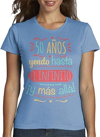 latostadora - Camiseta 50 Anos hasta el para Mujer: hello: Amazon.es: Ropa y accesorios