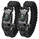 "A2S Paracord Bracelet K2-Peak – Survival Gear Kit with Embedded Compass, Fire Starter, Emergency Knife & Whistle – Pack of 2 - Quick Release Slim Buckle Design (Black / Black 8"")"
