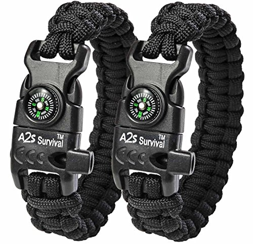 A2S Paracord Bracelet K2-Peak – Survival Gear Kit with Embedded Compass, Fire Starter, Emergency Knife & Whistle – Pack of 2 - Quick Release Slim Buckle Design (Black / Black 8