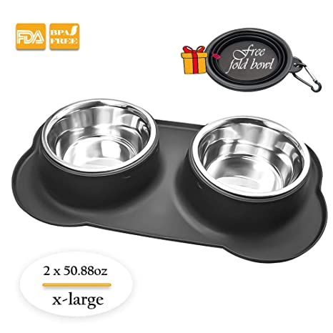 Amazon.com   SK PLUS Dog Bowl with No Spill Non-Skid Silicone Mat 2d5c2206b