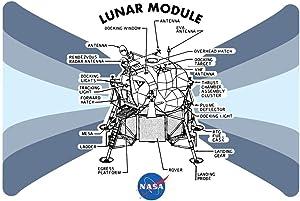 NASA Approved Lunar Module Diagram Apollo 11 Moon Cool Wall Decor Art Print Poster 36x24
