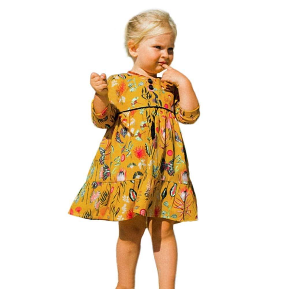 PAOLIAN Vestidos para bebé Niñas Manga Larga Otoño 2018 Vestidos Amarillas bebé Niñas Estampado de Florales Vestidos Princesa con Botones Monos Recién ...