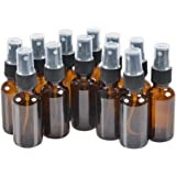 12 Pack,2oz Amber Glass Bottles with Black Fine Mist Sprayer.Refillable & Reusable.Designed for Essential Oils, Perfumes,Cleaning Products,Aromatherapy.12 Chalk Labels as gift.