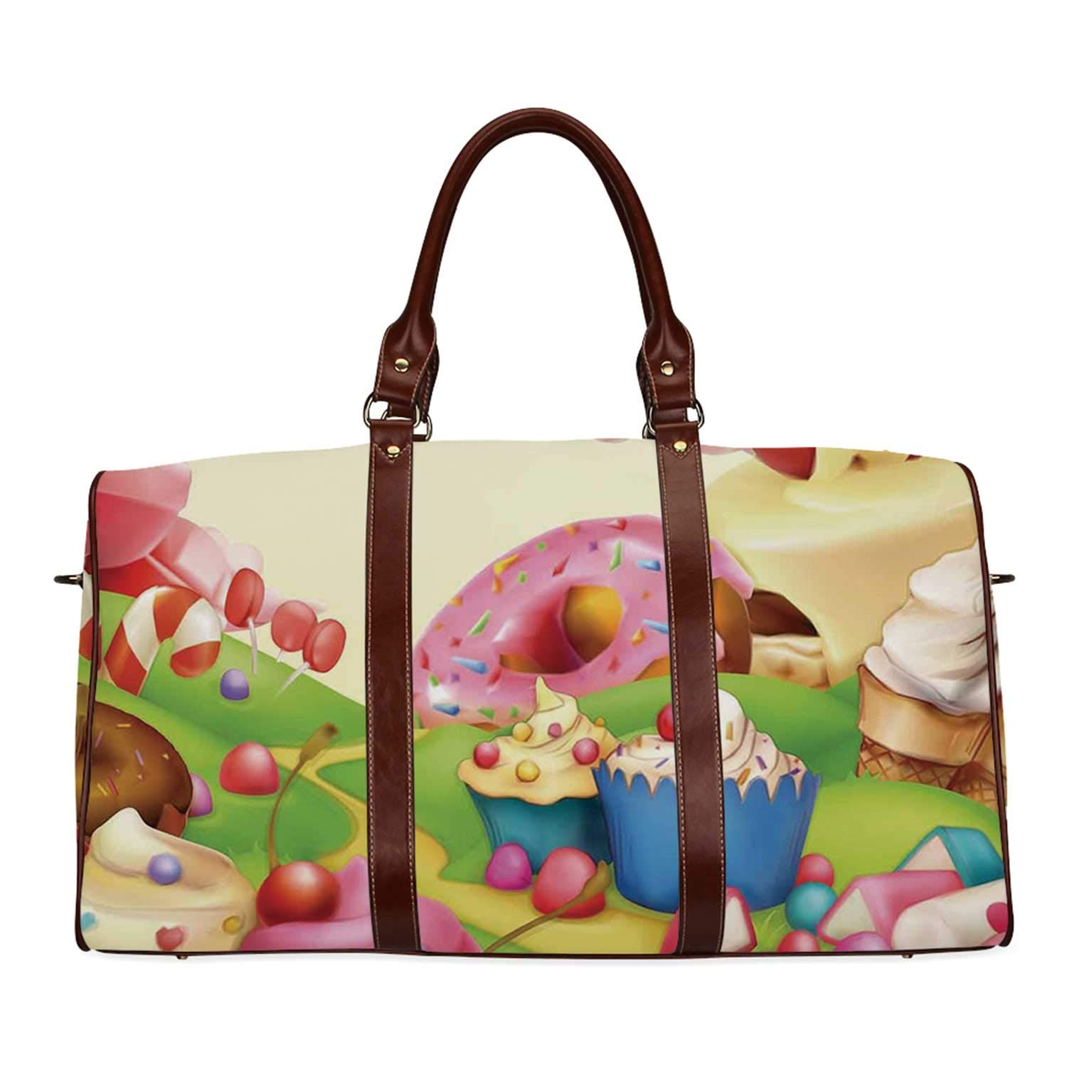 Modern Women's Travel Bag,Yummy Donuts Sweet Land Cupcakes Ice Cream Cotton Candy Clouds Kids Nursery Design for Ladies,18.62''L x 8.5''W x 9.65''H by YOLIYANA