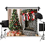 Kate Christmas Photography Backdrops Gift Box Red Sock Brick Fireplace for Children Christmas Photo Background 10X6.5ft(3x2m)