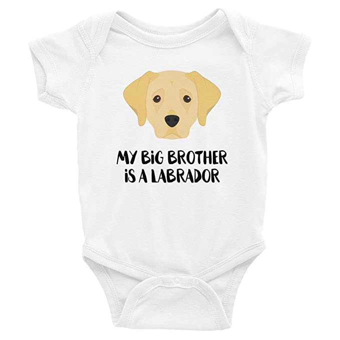 c7f7c628132 Promini Funny My Big Brother Sister is a Labrador Baby Bodysuit Cool Infant  One-Piece