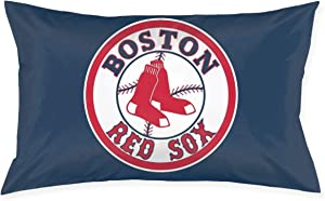 Franklin Sports Boston Red Sox Pillowcase with Hidden Zipper 1 Pack Queen Size Pillow Case for Sleeping Or Living Room Decoration