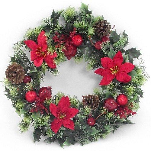 Endless Creations - Ghirlanda di Agrifoglio in plastica, con Stelle di Natale in Velluto e Palline di Natale, per Interni ed Esterni, 40 cm, Colore: Rosso