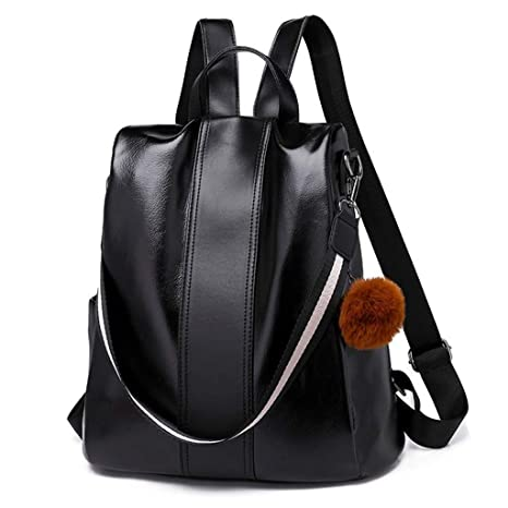 e6e478f49772 Image Unavailable. Image not available for. Color  Yeahii Women Backpack  Purse PU Leather Anti-Theft Rucksack Casual Satchel School Shoulder ...