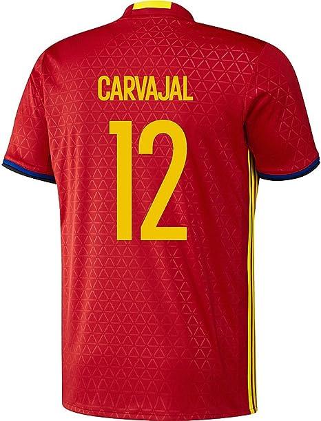 adidas Carvajal #12 España Camiseta de equipaciónde fútbol UEFA Euro 2016 (Niño) (US Size YXL): Amazon.es: Deportes y aire libre
