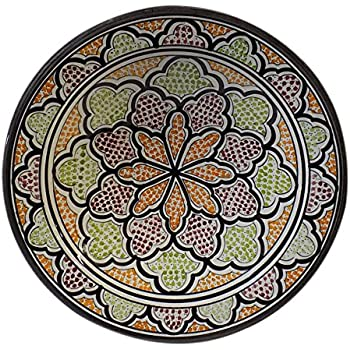 Ceramic Plates Moroccan Handmade Serving Wall Hanging Exquisite Colors Decorative 14 inches Diameter  sc 1 st  Amazon.com & Amazon.com | Ceramic Plates Moroccan Handmade Serving Wall Hanging ...