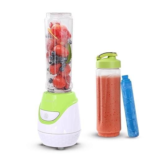 Aigostar Greenberry 30JHU - Batidora de vaso portátil, 600W, tubo refrigerante, incluye 2 vasos portátiles de Tritan de 600 ml y 2 tapas.