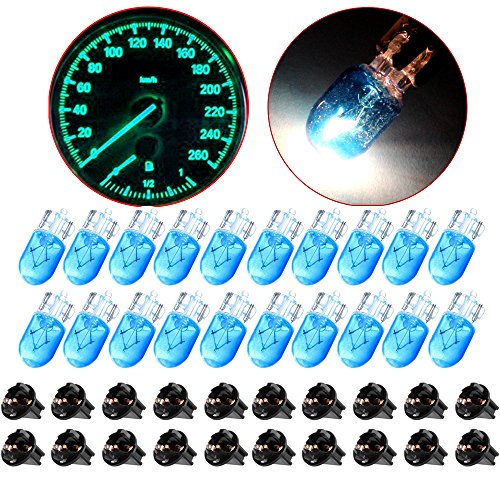 cciyu T10 Instrument 194 168 Halogen Bulbs Instrument Panel Gauge Cluster Light Replacement fit for Marker Light Auto Side Lamp W5W 158 with Twist Lock Sockets