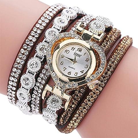 Botrong CCQ Vintage Rhinestone Crystal Bracelet Dial Analog Quartz Wrist Watch for Women Girl (G) - Diamond Protector Faceplate