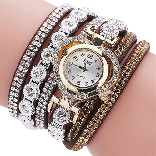 [Botrong CCQ Vintage Rhinestone Crystal Bracelet Dial Analog Quartz Wrist Watch for Women Girl (G)] (Glass Lightweight Bracelet)