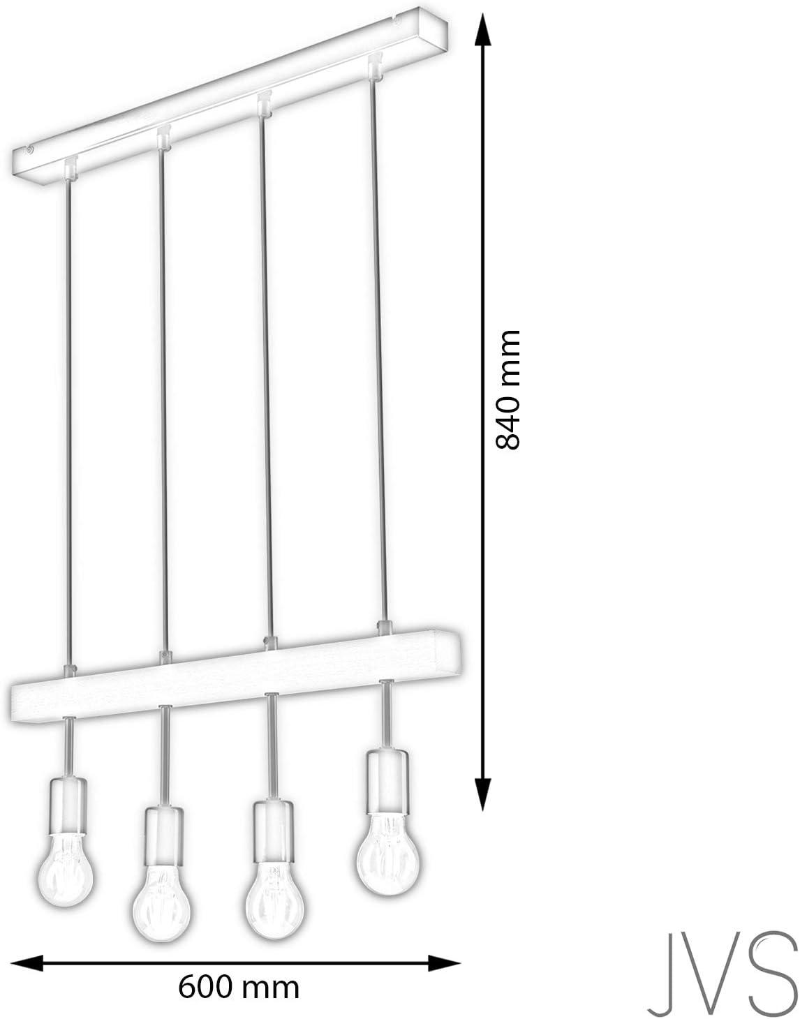 Pendel-Leuchte, Decken-Leuchte Weiss 4-Flammig, E27 Fassung, Sknadinavischer Stil, Deckenleuchte, Deckenlampe, Kronleuchter aus Stahl/Holz - ohne Leuchtmittel B-4l