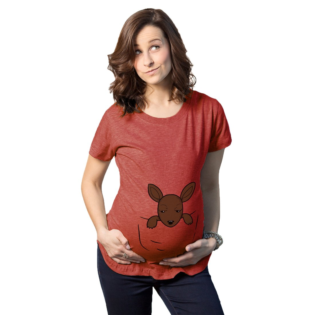 Maternity Peeking Kangaroo Baby Funny Pregnancy Shower Gift T shirt Crazy Dog Tshirts