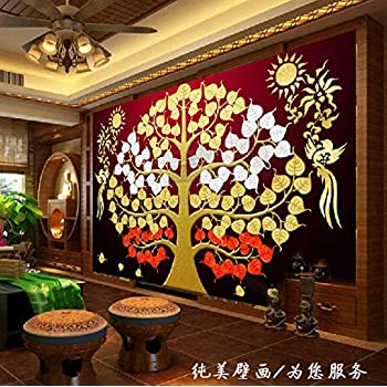 Sdefw Wall Stickers & Murals Customized Southeast Asia Thai-Style Gold Foil Painting Living Room Entrance Porch Frescoes Bodhi Tree Auspicious Tree Wallpaper 200X140Cm